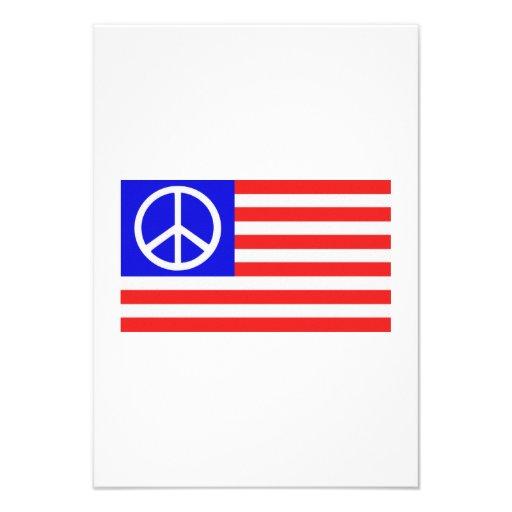 Paix de drapeau des USA Cartons D'invitation