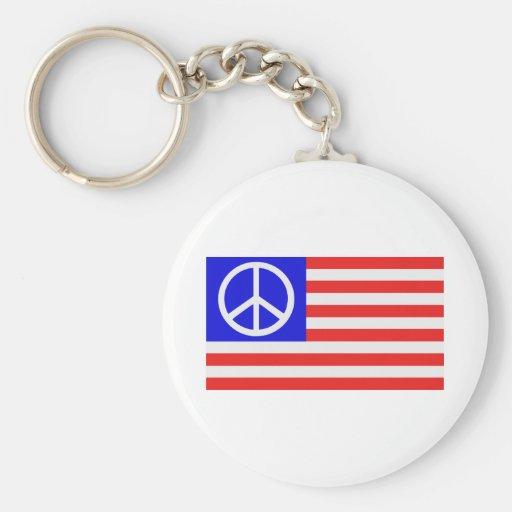 Paix de drapeau des USA Porte-clés