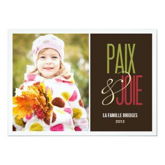 """Paix et joie cartes de photo de vacances 5"""" x 7"""" invitation card"""