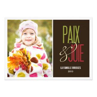 Paix et joie cartes de photo de vacances personalized announcement
