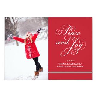 Paix et joie du carte photo   de vacances en rouge carton d'invitation  12,7 cm x 17,78 cm