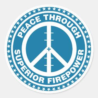 Paix par la puissance de feu supérieure - bleu autocollant