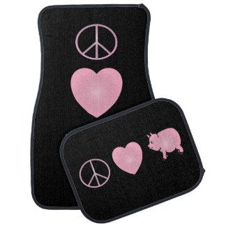 Paix rose, amour, porcs tapis de sol