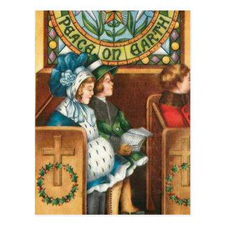 Paix sur la carte postale vintage de Noël de la
