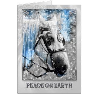 Paix sur le cheval blanc de Noël de la terre Carte De Vœux