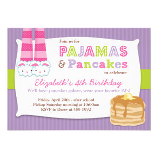 Pajamas and Pancakes Birthday Party Sleepover Personalized Announcements