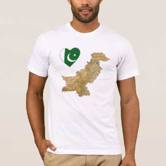 Pakistan Flag Heart and Map T-Shirt