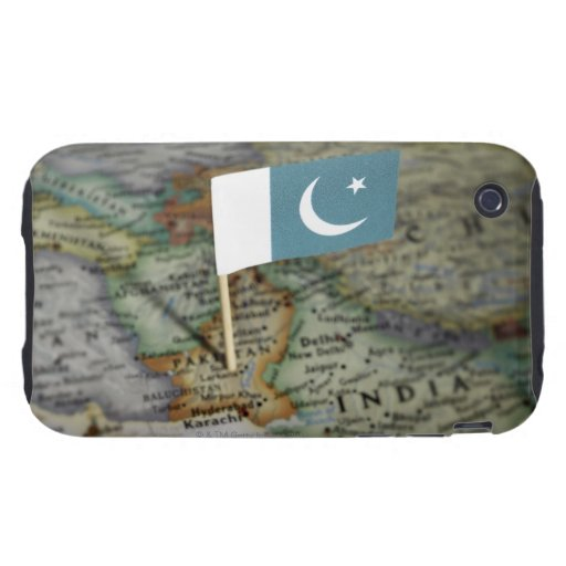 Pakistan flag in map tough iPhone 3 cases