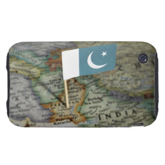 Pakistan flag in map iPhone 3 tough cover
