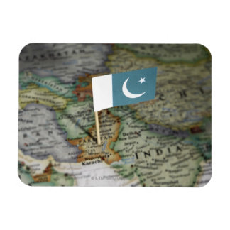 Pakistan flag in map rectangular photo magnet