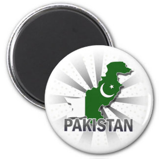 Pakistan Flag Map 2.0 2 Inch Round Magnet