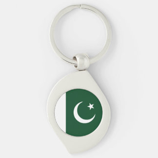 Pakistan Flag Silver-Colored Swirl Keychain