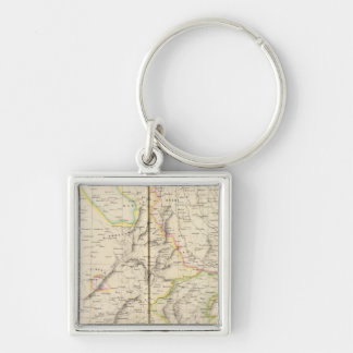 Pakistan, India 82 Silver-Colored Square Keychain