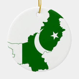 Pakistan Map Flag Ceramic Ornament