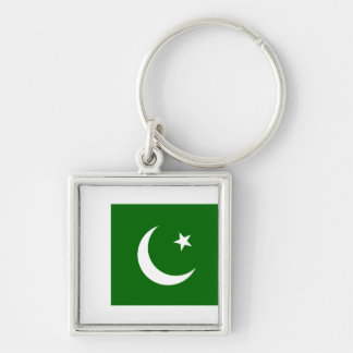 Pakistan PK Silver-Colored Square Keychain