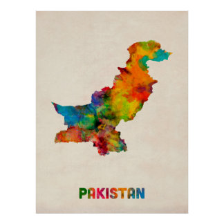 Pakistan Watercolor Map Poster