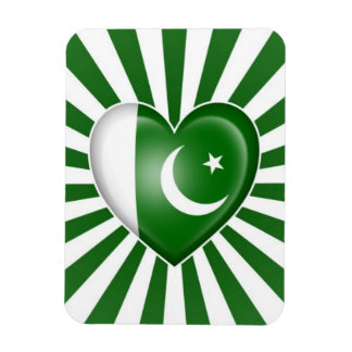 Pakistani Heart Flag with Star Burst Magnet