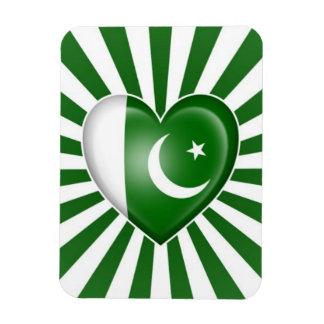 Pakistani Heart Flag with Star Burst Rectangular Photo Magnet