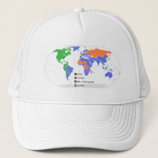 PAL NTSC SECAM TV World Map Trucker Hat