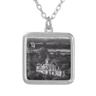 Palace on the Water in Warsaw by Bernardo Bellotto Square Pendant Necklace