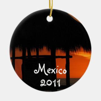 Palapa at Sunset; Mexico Souvenir Round Ceramic Ornament