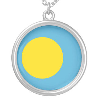 Palau Flag Silver Plated Necklace