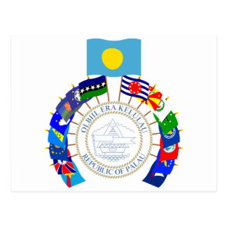 Palau Flags Pinwheel Postcard