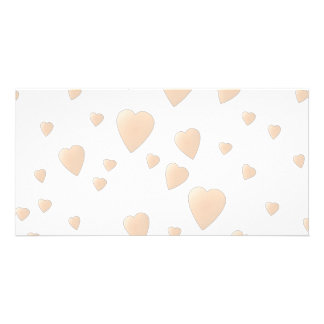 Pale Beige and White Love Hearts Pattern. Personalized Photo Card