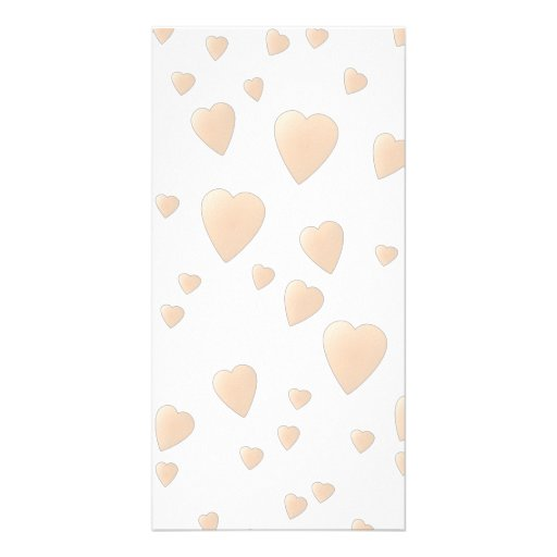Pale Beige and White Love Hearts Pattern. Photo Card