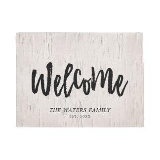 Pale Birch & Brush Script  - Family Name - Welcome Doormat