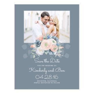 Pale Blue and Dusty Rose Floral Save the Date Postcard
