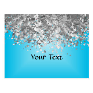 Pale blue and faux glitter postcard