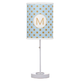 Pale blue and gold dot monogram lamp