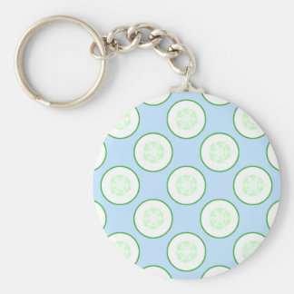 Pale Blue and Green Cucumber Pattern. Basic Round Button Keychain