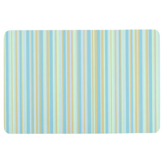 Pale Blue and Green Striped Floor Mat