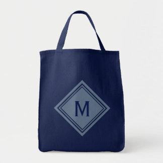 Pale Blue and Navy Diamond Monogram Tote Bag