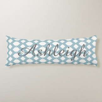 Pale blue and white lattice work, Add Name! Body Pillow