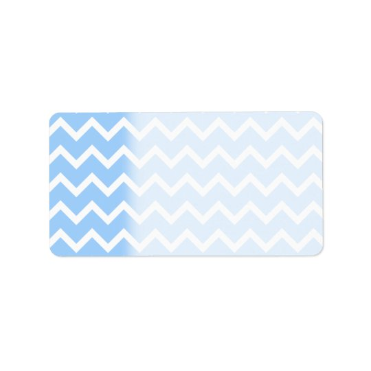 Pale Blue and White Zig zag Stripes. Label