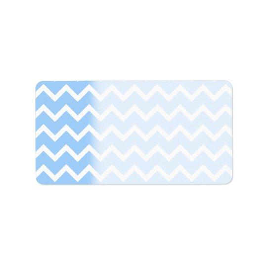 Pale Blue and White Zig zag Stripes. Label