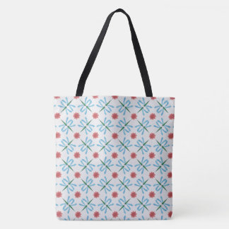 Pale Blue Dragonflies, Pink Water Lilies, on White Tote Bag