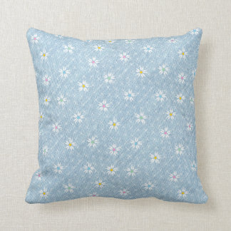 Pale blue faded denim pretty floral throw pillow