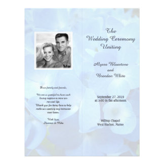 Pale Blue Floral Tall Folded Wedding Program Personalized Flyer