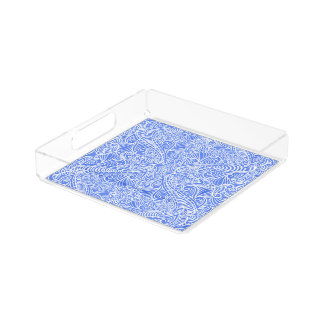 Pale Blue Floral Twists Acrylic Tray