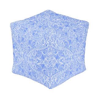Pale Blue Floral Twists Pouf