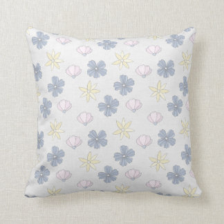 Pale Blue Flowers, Flowered Back Throw Pillow