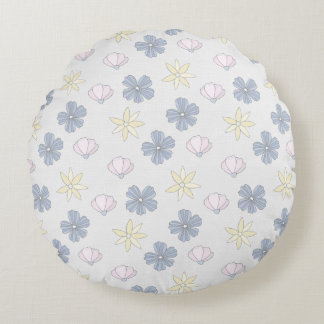 Pale Blue Flowers, Solid Back Round Pillow
