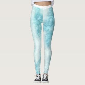 Pale Blue Marbled Pattern Leggings