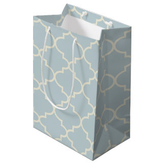 Pale Blue Moroccan Quatrefoil Pattern Gift Bag