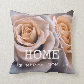 Pale Blue Peach Roses Mother's Day Pillow
