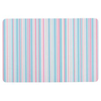 Pale Blue Pink Striped Floor Mat